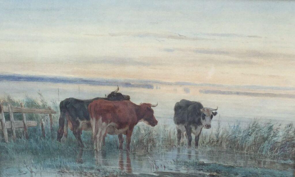 Schilderijen te koop van kunstschilder Pieter Stortenbeker Koeien aan de waterkant aquarel, beeldmaat 30 x 44 cm linksonder gesigneerd, Expositie Galerie Wijdemeren Breukeleveen