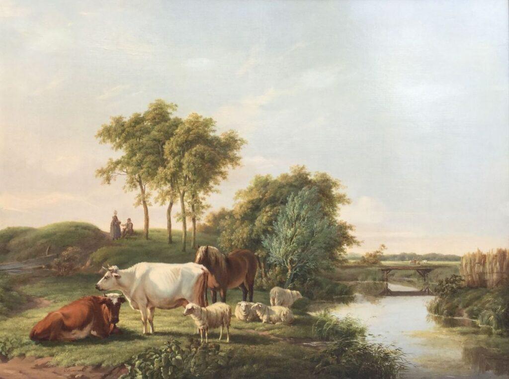 Kunstenaar Cornelis Kimmel C3064W, Cornelis Kimmel vee in landschap olie op paneel, 33,5 x 44,5 cm l.o. gesigneerd