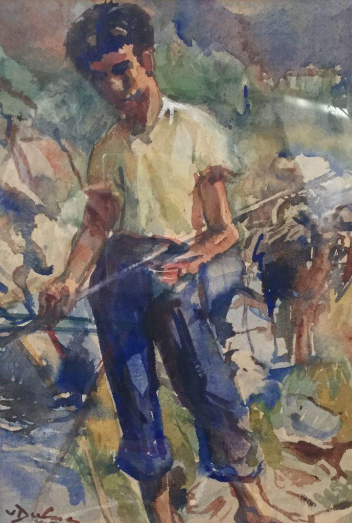 Kunst te koop bij Galerie Wijdemeren van kunstschilder Bernhard van Dulmen Krumpelman Jongetje in berglandschap aquarel, beeldmaat 37 x 27 cm linksonder gesigneerd