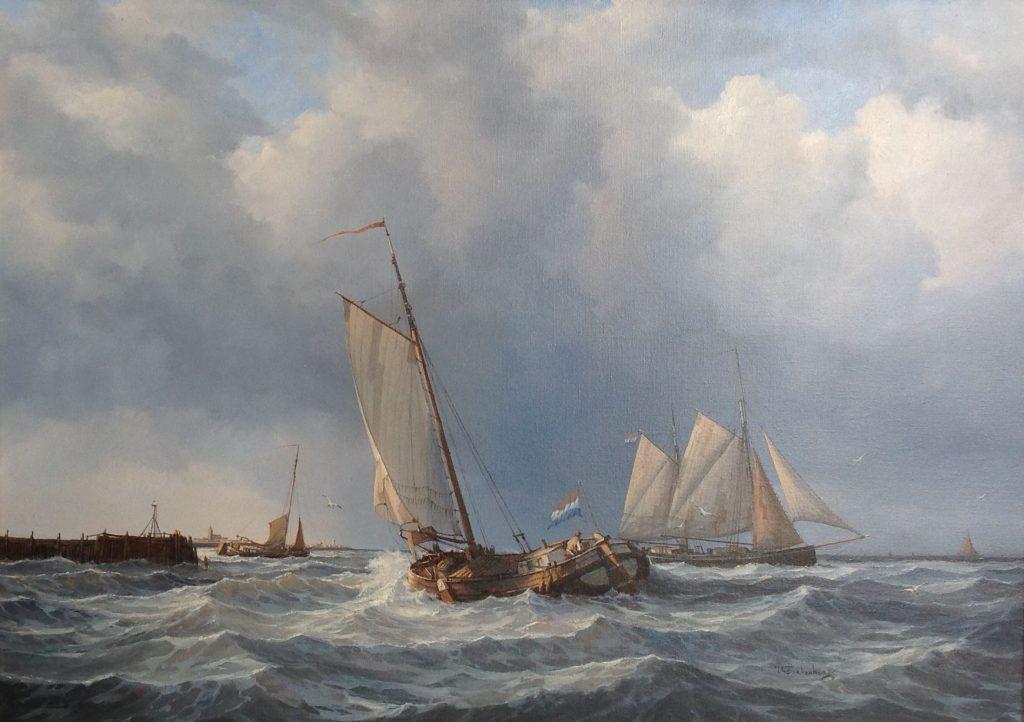 Kunstenaar Peter Sterkenburg C307 Peter Sterkenburg Schepen aan de kust olie op doek, 50 x 70 cm r.o. gesigneerd verkocht