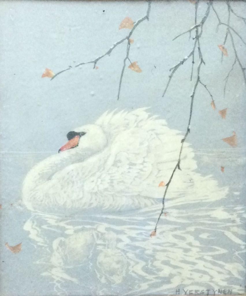 Kunst te koop bij Galerie Wijdemeren van graficus Henri Verstijnen Zwaan kleurenlino/houtsnede, 18 x 15 cm rechtsonder handgesigneerd
