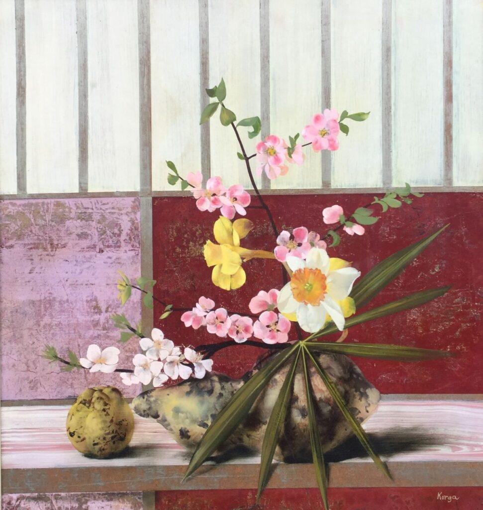Kunstenaar Gyorgy Korga C3139, Gyorgy Korga 'Bloemstilleven' Olie op paneel, beeldmaat: 52 x 49 cm Rechtsonder gesigneerd