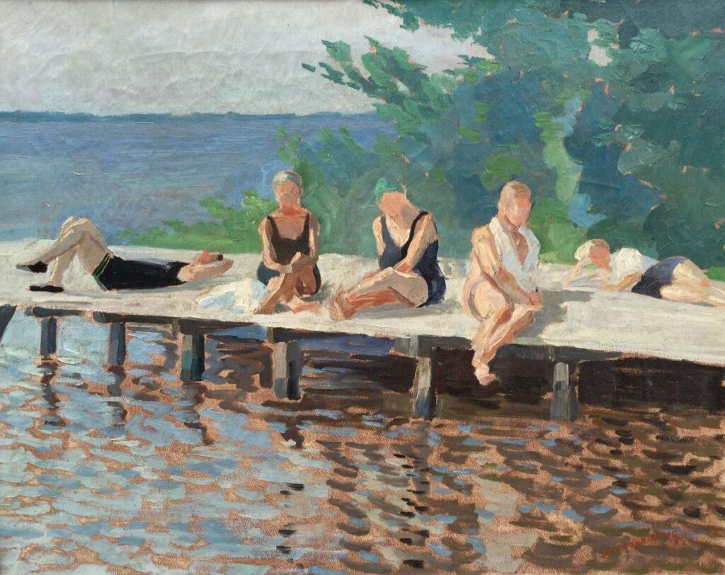 Schilderijen te koop van kunstschilder C3173 Dirk Smorenberg Badgasten, op een steiger in Loosdrecht olie op doek, 38,5 x 48,5 cm linksonder gesigneerd, Expositie Galerie Wijdemeren Breukeleveen