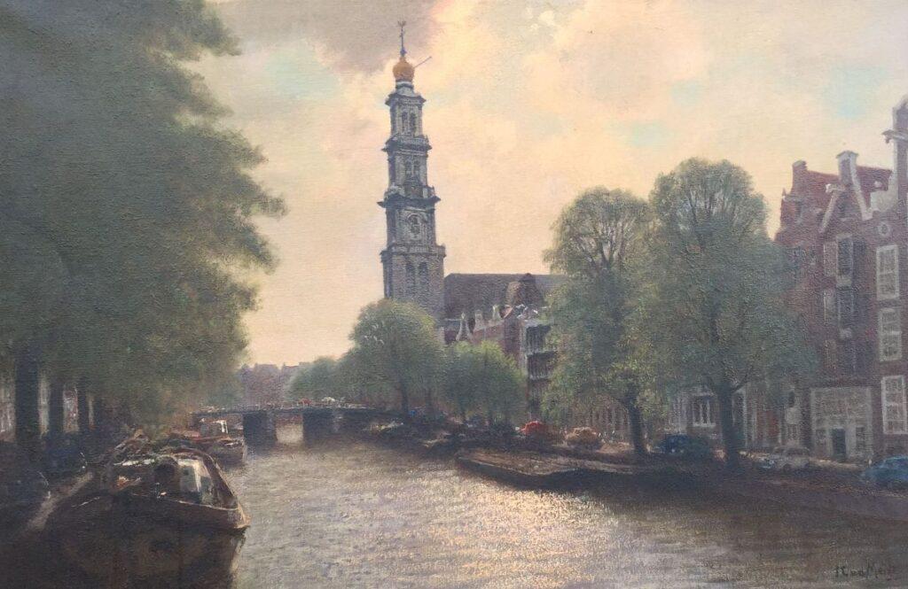 Schilderijen te koop van kunstschilder J.L. vd Meide Amsterdam met zicht op Westertoren olie op doek, doekmaat 60 x 100 cm rechtsonder gesigneerd, Expositie Galerie Wijdemeren Breukeleveen