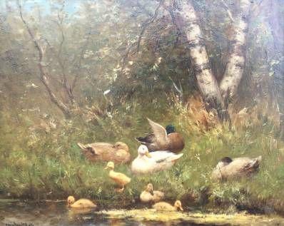 Schilderijen te koop van kunstschilder Constant Artz Eendenfamilie aan de waterkant olie op paneel, 40 x 50 cm l.o. gesigneerd, Expositie Galerie Wijdemeren Breukeleveen
