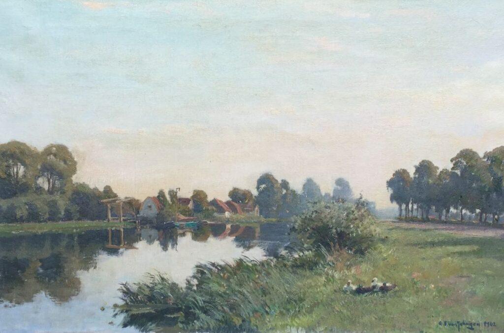 Kunstenaar Gerbrand Frederik van Schagen C3220, G.F. van Schagen Gedateerd 1942 Olie op doek, beeldmaat: 60 x 90 cm Rechtsonder gesigneerd