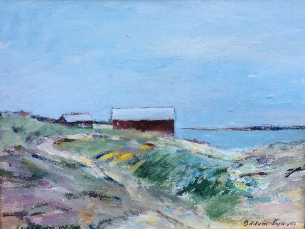 Schilderijen te koop, kunstschilder Oddvar Lynum Scandinavisch landschap Olie op board, 28 x 35,5 cm Rechtsonder gesigneerd, expositie Galerie Wijdemeren Breukeleveen