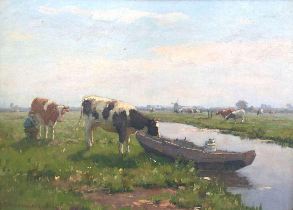 Schilderijen te koop van kunstschilder Bernard van Beek Koe bij de melkschuit Olie op paneel, paneelmaat 37 x 50 cm. linksonder gesigneerd, Expositie Galerie Wijdemeren Breukeleveen
