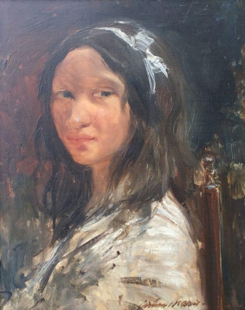 C3276 Simon Willem Maris Damesportret olie op paneel, 31 x 25 cm rechtsonder gesigneerd, schilderijen te koop, kunst te koop, exposities
