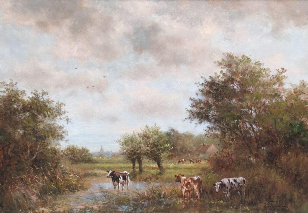 Schilderijen te koop van kunstschilder A.J. Temming Badende koeien olie op doek, doekmaaty 50 x 70 cm rechtsonder gesigneerd, Expositie Galerie Wijdemeren Breukeleveen