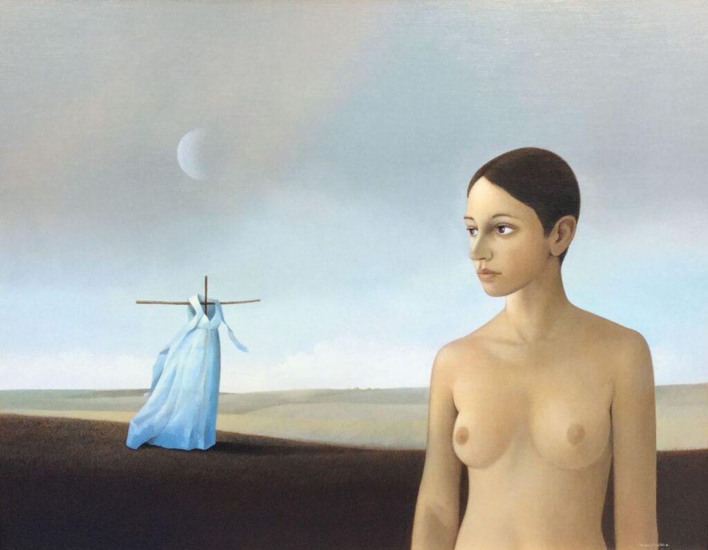Kunstenaar Don Clarke C3293, Don Clarke Vrouw Olie op paneel particuliere collectie