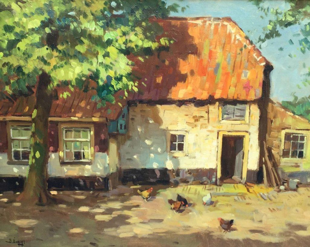 Kunstenaar Ben Viegers C3296 Ben Viegers boerderij met kippetjes olie op doek, 40 x 50 cm