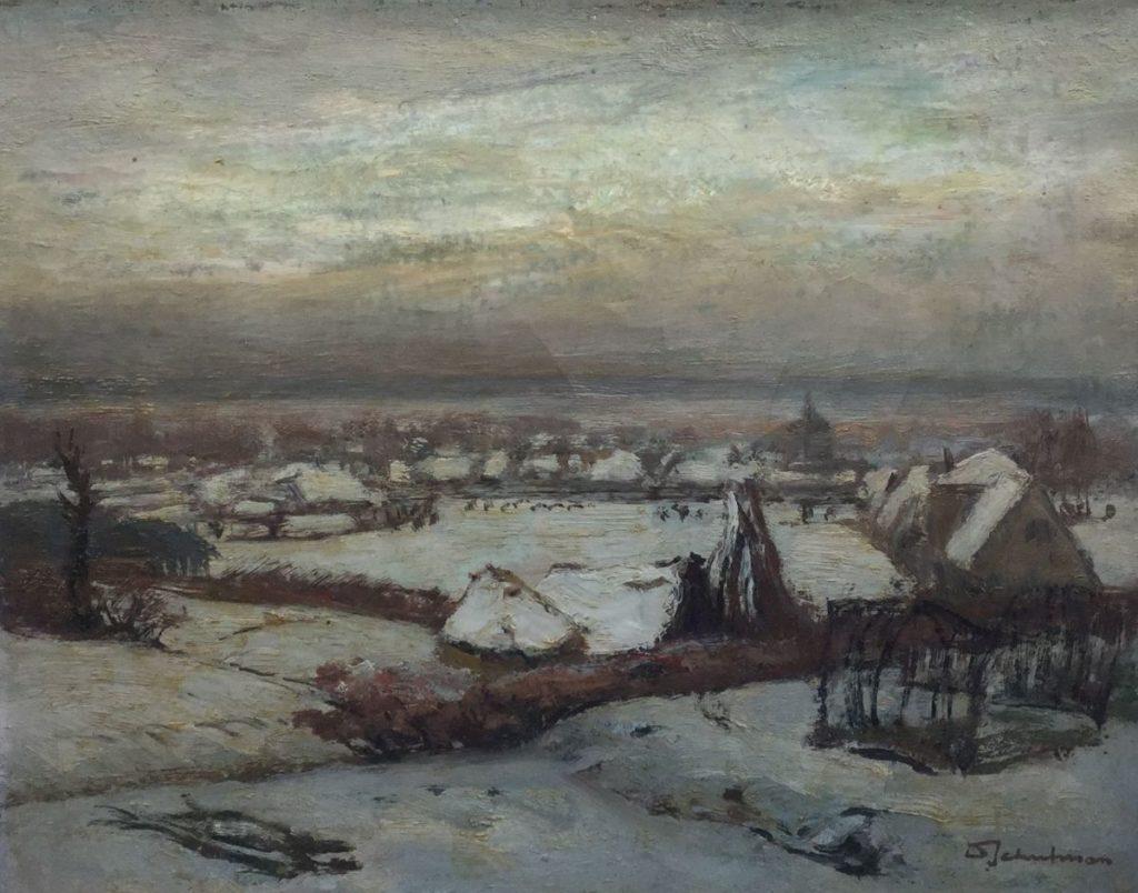 Schilderijen te koop van kunstschilderDavid Schulman Dorpsgezicht in de winter olie op doek, 26 x 33 cm rechtsonder gesigneerd, Expositie Galerie Wijdemeren Breukeleveen