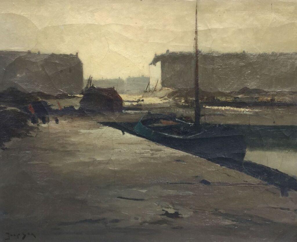 Schilderijen te koop van kunstschilder Jaap Sax Stille haven Beeldmaat 40 x 50 cm Linksonder gesigneerd, Expositie Galerie Wijdemeren Breukeleveen