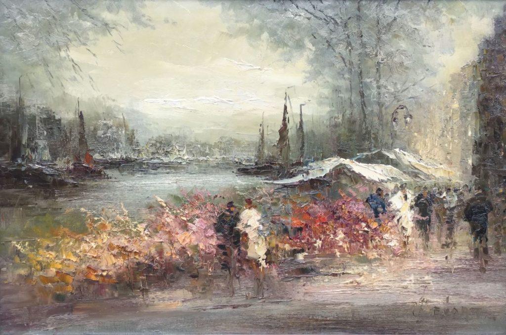 Schilderijen te koop van kunstschilder John Bevort Bloemenmarkt olie op doek, 60 x 90 cm linksonder gesigneerd, Expositie Galerie Wijdemeren Breukeleveen