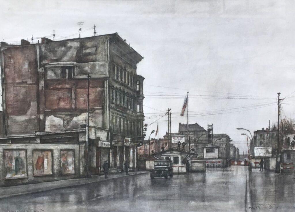 Kunstenaar Charles J. Kemper C3313, Charles J. Kemper Berlin, Checkpoint Charlie aquarel