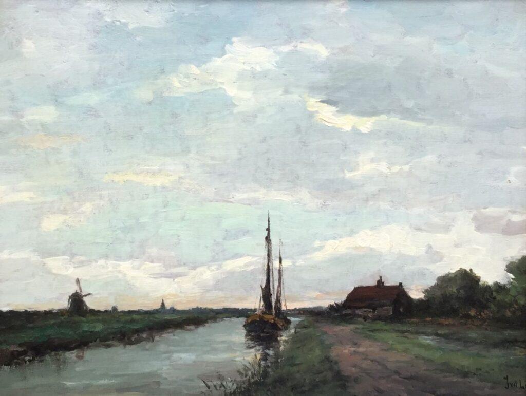 Kunstenaar Jan van der Linde C3335W J. van der Linde Bootje op de vaart olie op doek, doekmaat 31 x 38.5 cm rechtsonder gesigneerd gereserveerd