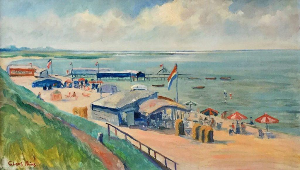 Schilderijen te koop van kunstschilder Claas Prins Strand Muiderberg, zomer 1937 olie opdoek, doekmaat 35 x 60 cm lo gesigneerd, Expositie Galerie Wijdemeren Breukeleveen