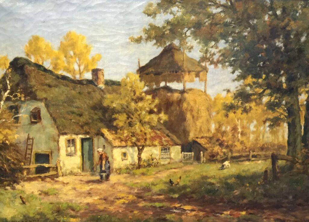 Schilderijen te koop van kunstschilder M.J. Nefkens Boerderij olie op doek, 50,5 x 70,5 cm gesigneerd linksonder, Expositie Galerie Wijdemeren Breukeleveen