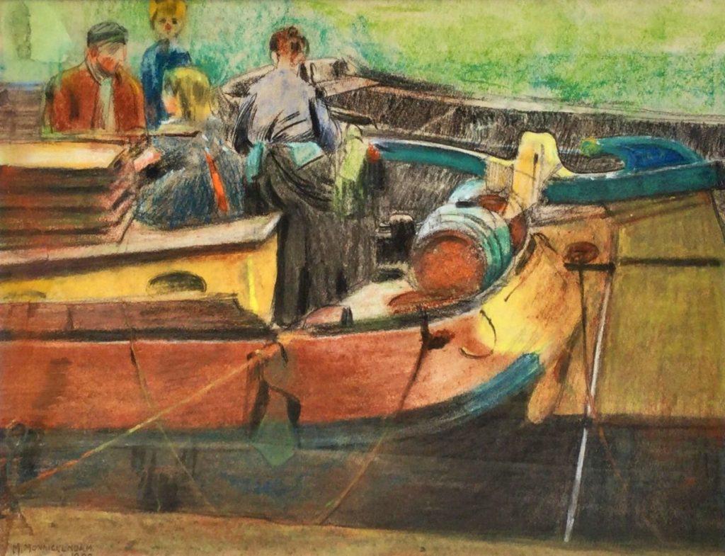 Schilderijen te koop van kunstschilder Martin Monnickendam familie op de boot krijttekening op papier, beeldmaa 28,5 x 37 cm linksonder gesigneerd, gedateerd 1900, Expositie Galerie Wijdemeren Breukeleveen