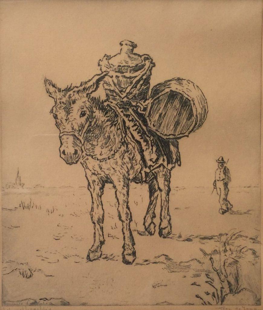 Kunstenaar Toon de Jong C3389-3, Toon de Jong Het melkezeltje ets, r.o. gesigneerd verkocht