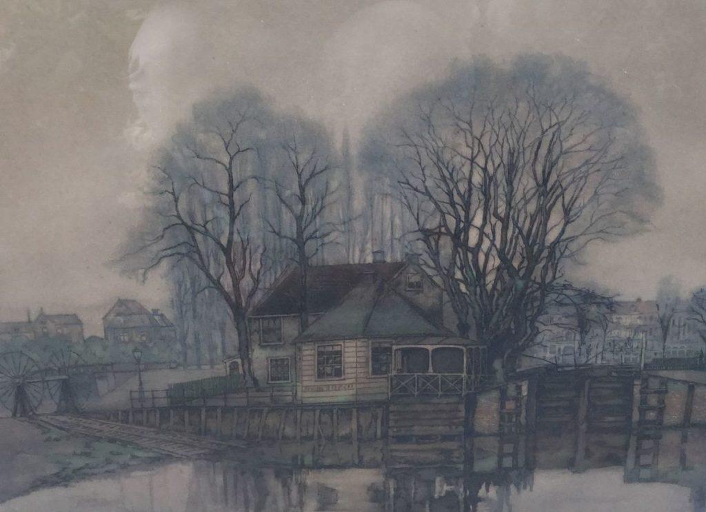 Schilderijen te koop, Huisje tussen de bomen aan het water Ets, beeldmaat 33 x 41,5 cm gesigneerd rechtsonder, expositie Galerie Wijdemeren Breukeleveen