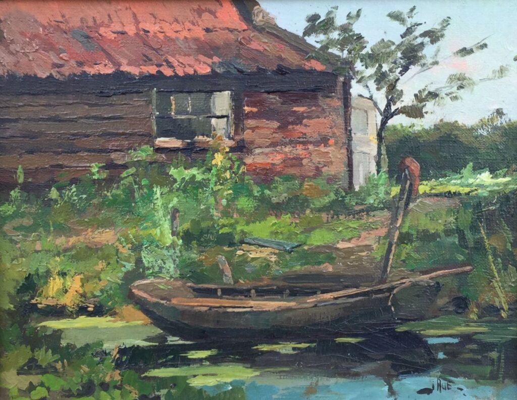 Schilderijen te koop van kunstschilder Jack Aué Bootje langs de kade, Expositie Galerie Wijdemeren Breukeleveen