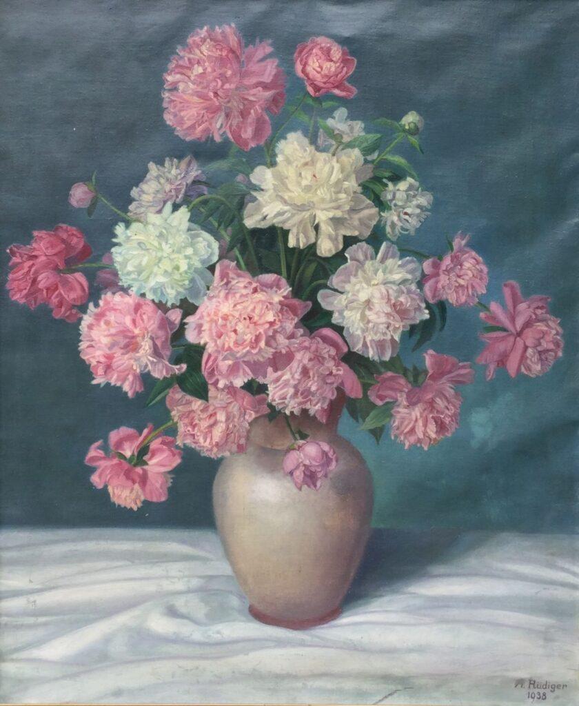Kunstenaar A. Rudiger C3393 A.Rudiger stilleven met bloemen olie op doek, 75 x 63 cm r.o. gesigneerd verkocht