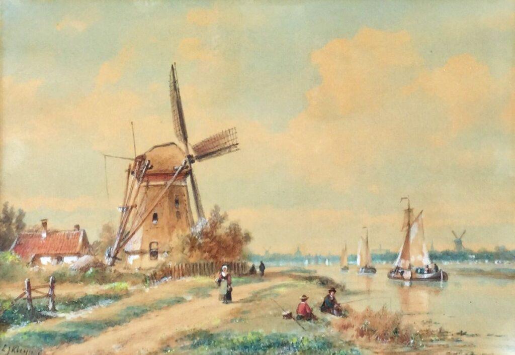 Kunstenaar Lodewijk Johannes Kleijn C3398, L.J. Kleijn Molen aan de vaart aquarel, gesigneerd verkocht