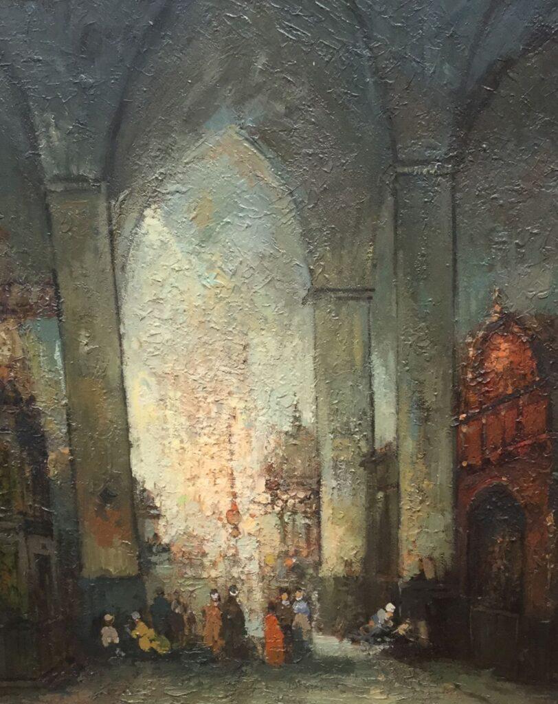 Schilderijen te koop van kunstschilder G.H. Nijland kerkinterieur olie op doek, 53 x 46 cm, Expositie Galerie Wijdemeren Breukeleveen