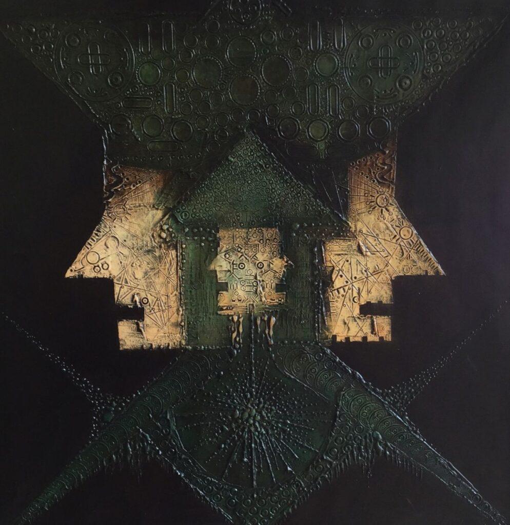 Schilderijen te koop van kunstschilder G.H. Nijland Symmetrische Hoofden olie op doek, 54 x 54 cm, Expositie Galerie Wijdemeren Breukeleveen