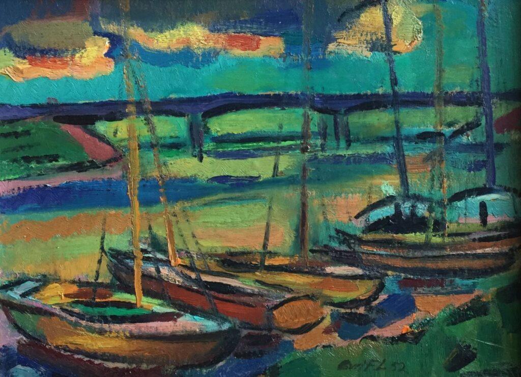 Schilderijen te koop van kunstschilder Else van der Feer Lader-Lohman 'Bootjes aan de kade', gedateerd 1952 Mediteraan landschap Olie op paneel, beeldmaat 22,5 cm x 30,5 cm Rechtsonder gesigneerdd, Expositie Galerie Wijdemeren Breukeleveen