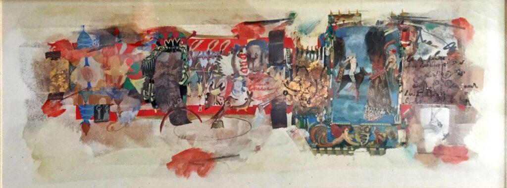 Kunstenaar Ton Mertens C3408, Ton Mertens Chasse d'Amazone gemengde techniek met bladgoud,23 x 63 cm handgesigneerd r.o.