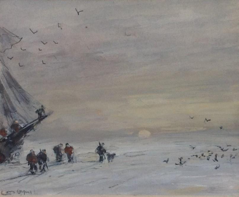 Kunstenaar Louis Apol C340 Louis Apol Nova Zembla gouache, beeldmaat 11,5 x 14 cm l.o. gesigneerd verkocht