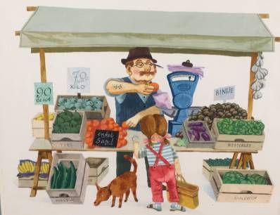 Kunstenaar Herman Berserik C3410, Herman Berserik Op de markt Gouache, beeldmaat 23 x 29 cm