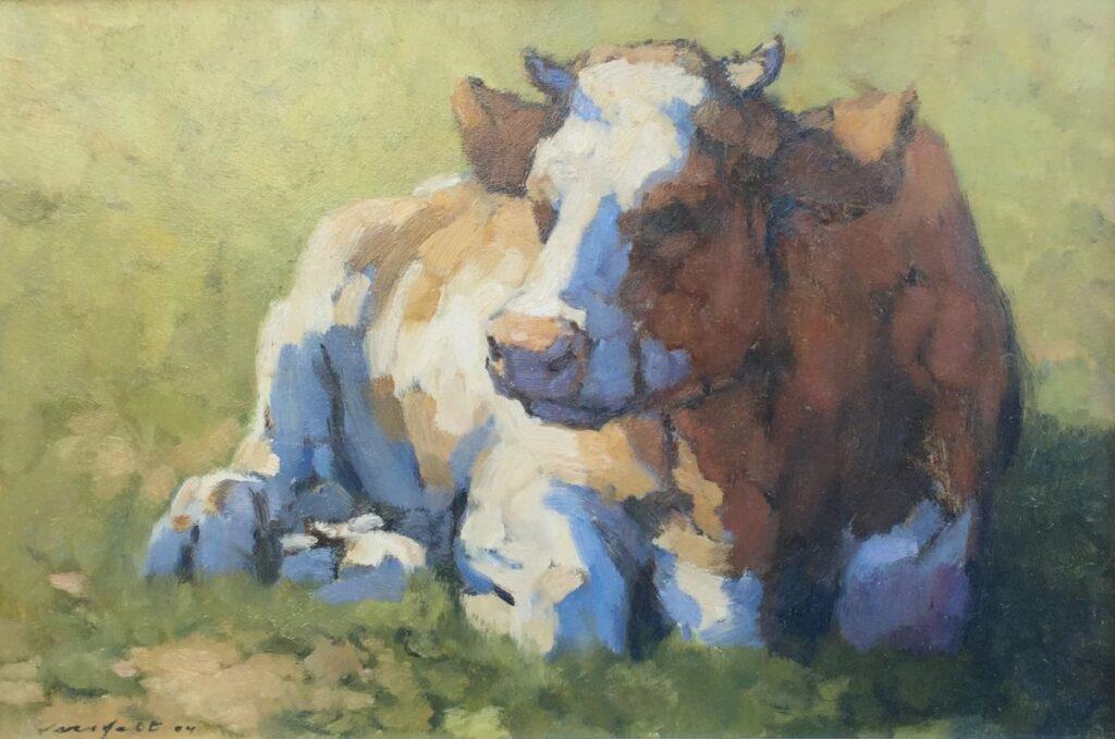 Kunstenaar Hans Versfelt C3415W, Hans Versfelt, Roodbonte koe 2004, olie op board, 30 x 45 cm linksonder gesigneerd
