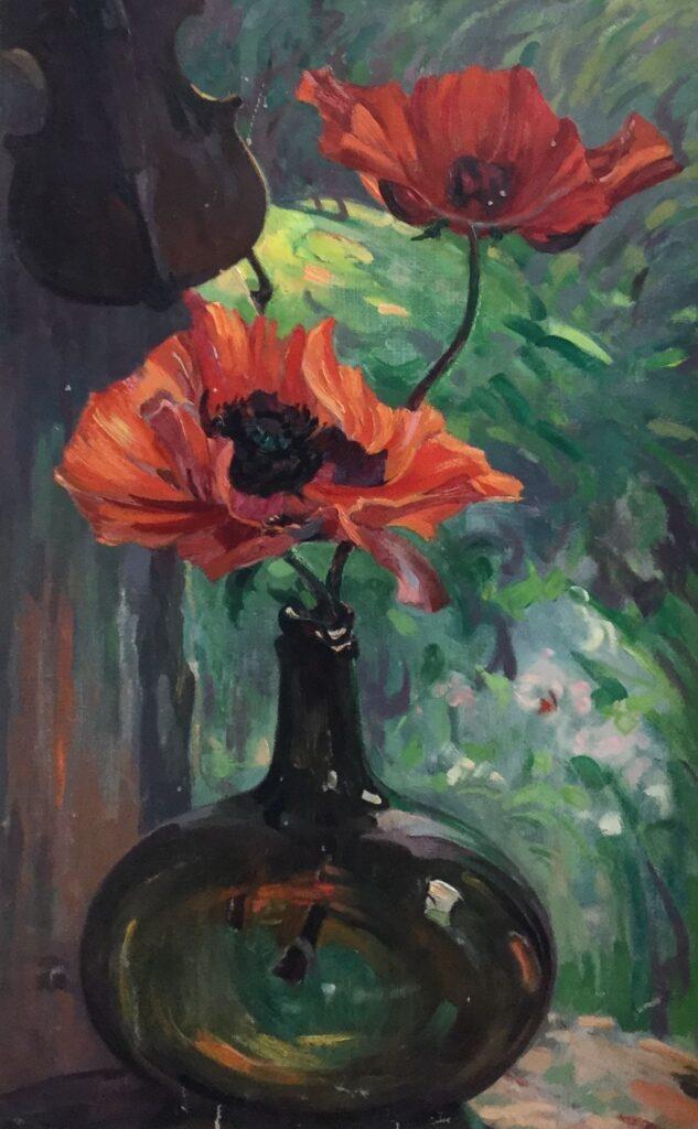schilderijen te koop van kunstschilder, Adri Pieck klaprozen, olie op doek Gesigneerd, expositie, galerie wijdemeren breukeleveen