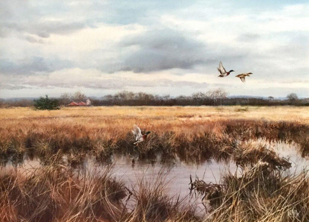 Kunstenaar Pieter Verstappen C3429 P. Verstappen Opvliegende eenden boven het water olie op doek, rechtsonder gesigneerd verkocht