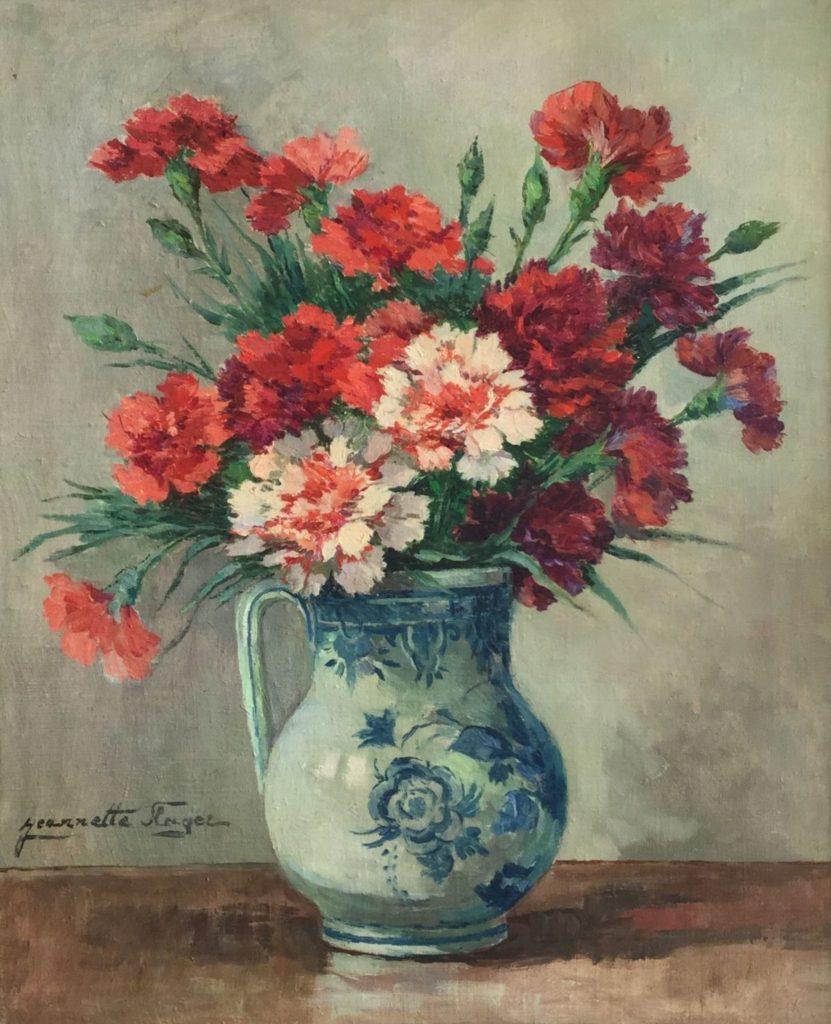 Schilderijen te koop, kunstschilder Jeannette Slager bloemstilleven in Delfts blauwe kan olie doek, 60 x 50 cm linksonder gesigneerd, Expositie Galerie Wijdemeren Breukeleveen