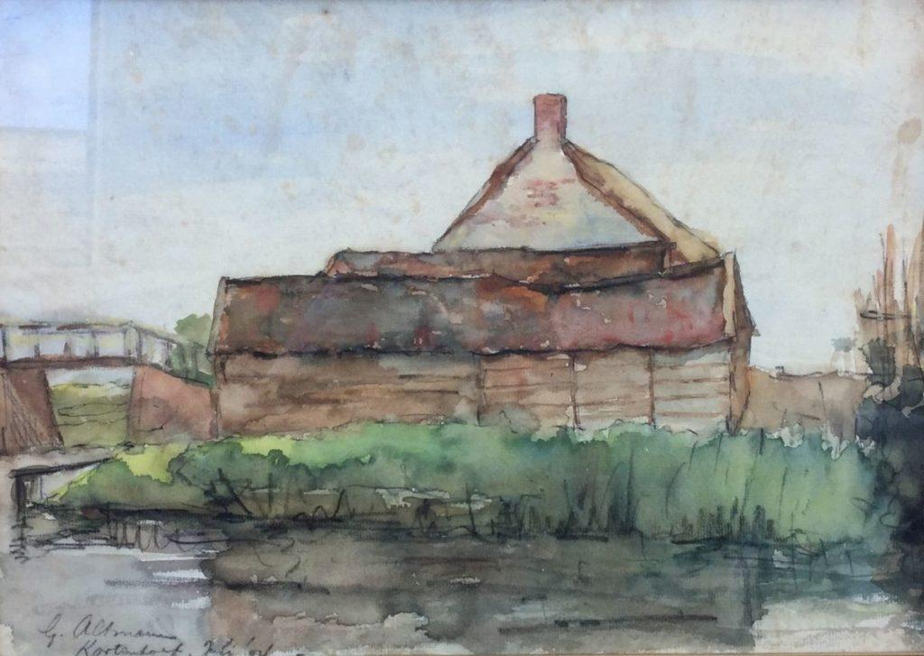 Schilderijen te koop van kunstschilder G. Altmann Kortenhoef aquarel, 25,5 x 36,5 cm gedateerd juli 04, Expositie Galerie Wijdemeren Breukeleveen