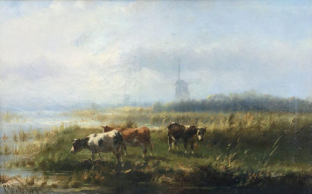 Kunstenaar Cornelis Westerbeek C3456 Cornelis Westerbeek Koeien in Hollands landschap olie op doek, 30 x 46 cm linksonder gesigneerd