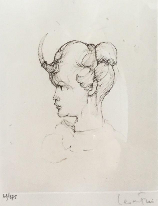 Schilderijen te koop, kunstschilder Leonor Fini portret ets, oplage 62/275, beeldmaat 13 x 15,5 cm rechtsonder gesigneerd, expositie Galerie Wijdemeren Breukeleveen