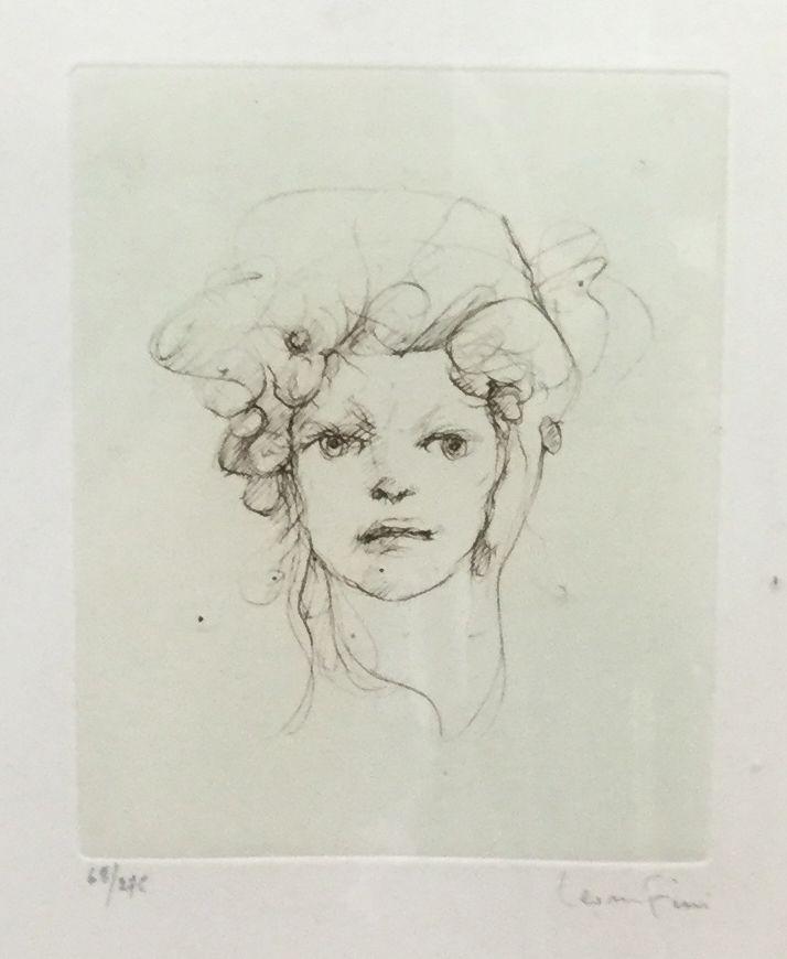 Kunst te koop bij Galerie Wijdemeren van Leonor Fini Portret ets, beeldmaat 13 x 15,5 cm oplage 68/275, rechtsonder gesigneerd