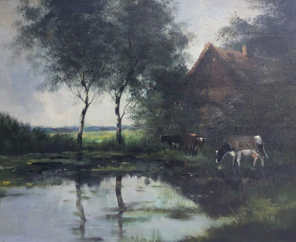 Kunstenaar Jan Kelderman C3473 Jan Kelderman Koeien bij boerderij aan het water olie op paneel, l.o. gesigneerd verkocht