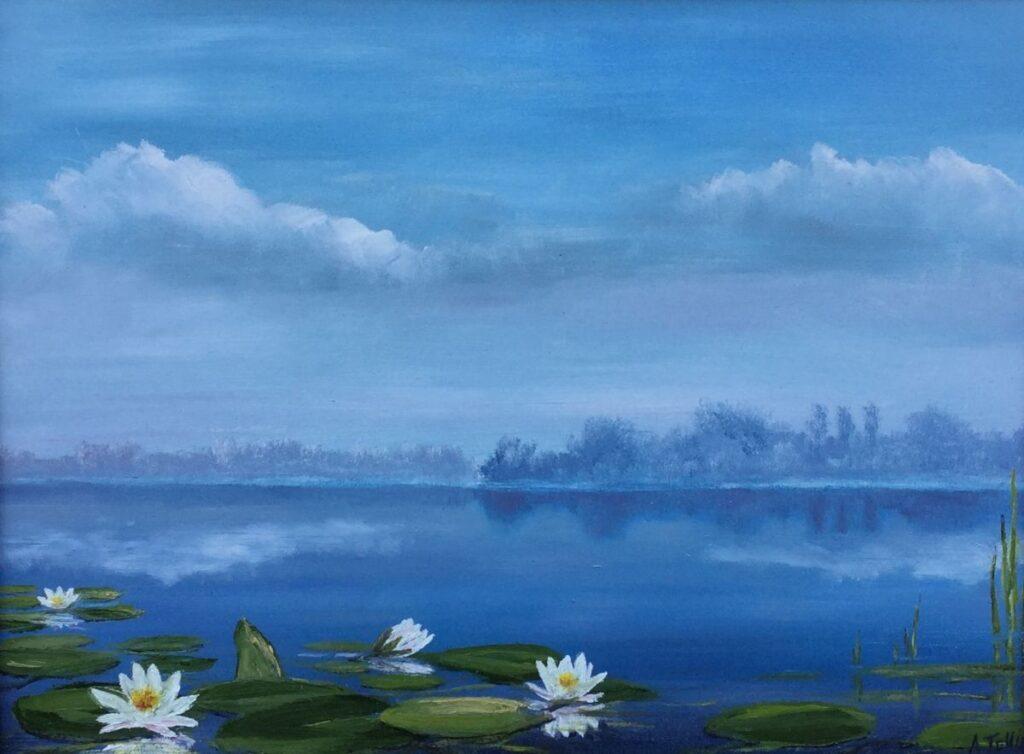 Kunstenaar Andre Tellier Waterlelies, olie op paneel, 30 x 40 cm, rechtsonder gesigneerd.