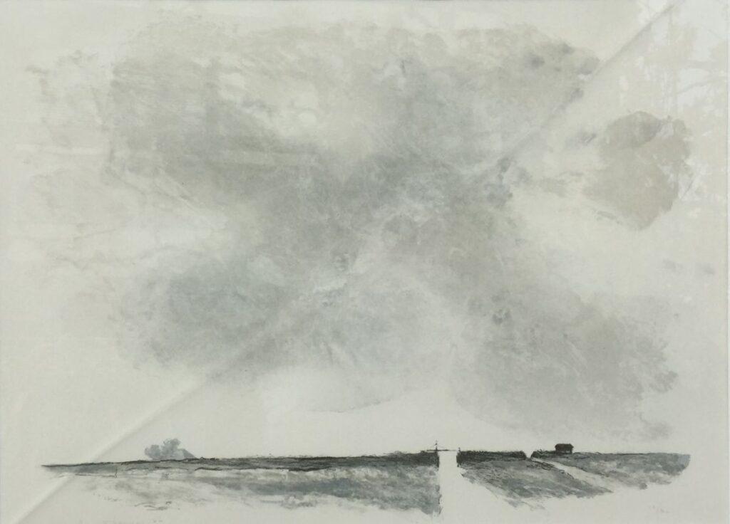 Kunstenaar Mart Kempers C3496W, Mart Kempers litho, 26/80 wijds landschap, 44 x 60 cm l.o. gesigneerd, gedateerd 86