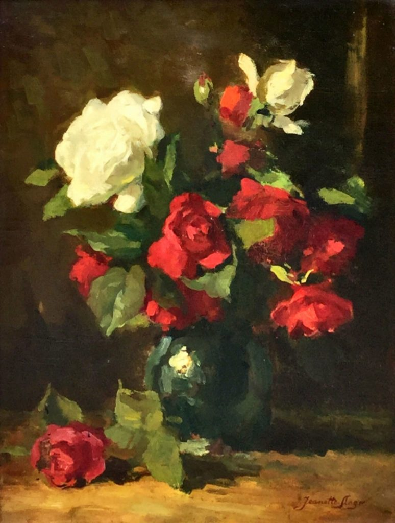 Schilderijen te koop, kunstschilder Jeannette Slager Bloemstilleven met rozen olie op doek, 48,5 x 35,5 cm rechtsonder gesigneerd recentelijk gerestaureerd, Expositie Galerie Wijdemeren Breukeleveen