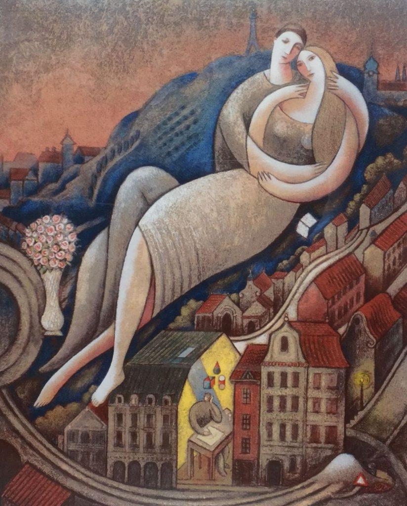 Kunstenaar Jiri Borsky c3513 Jiri Borsky Lovers on the hill Litho, Russische school beeldmaat 43 x 35 cm r.o. gesigneerd oplage 19/150