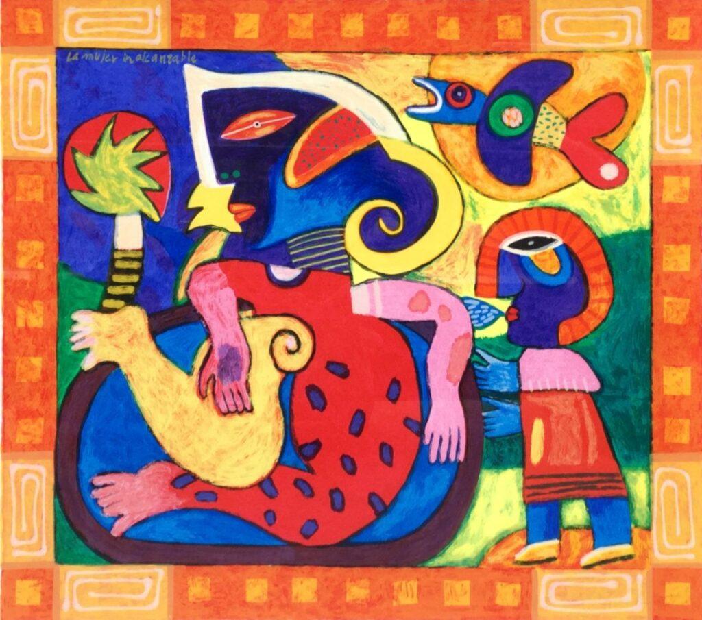 Schilderijen te koop van kunstschilder Clemens Briels Compositie met figuren litho, beeldmaat 50 x 56 cm rechtsonder gesigneerd gedateerd 2002, oplage 20/150, Expositie Galerie Wijdemeren Breukeleveen