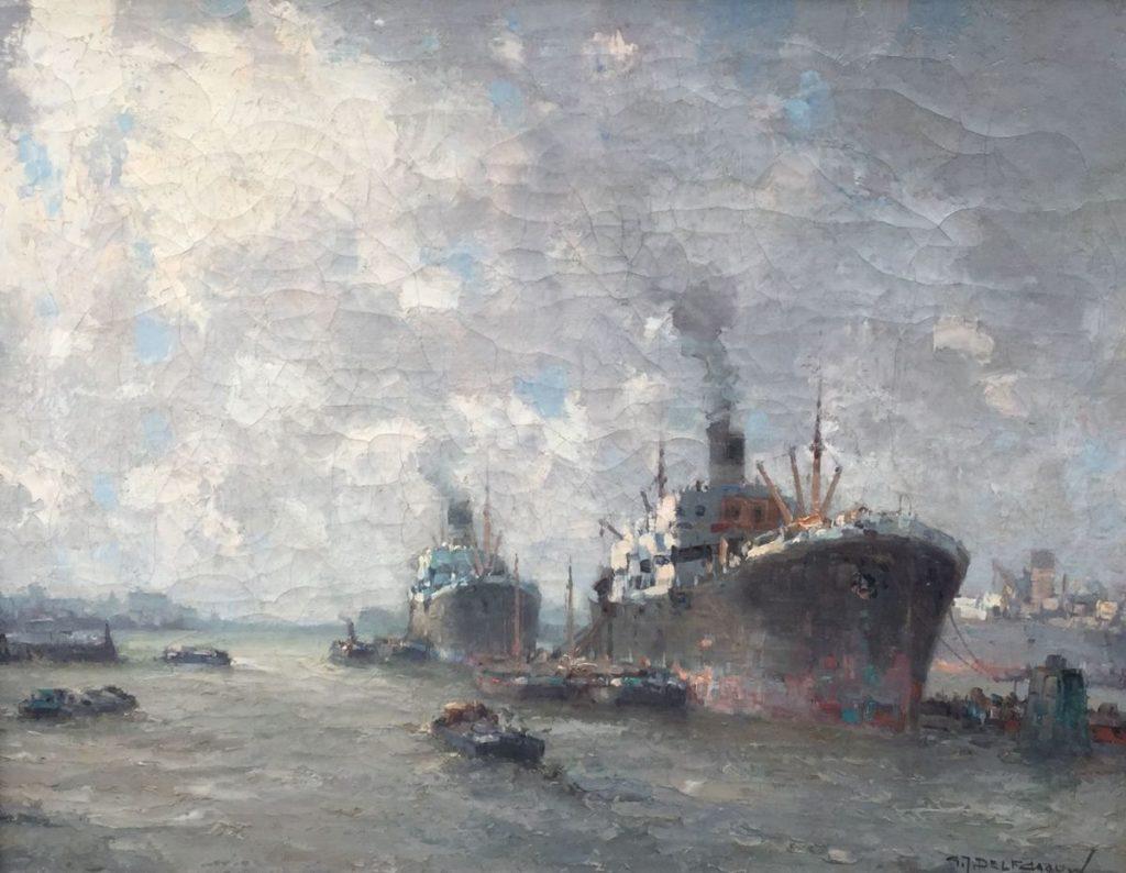 Kunstenaar G. J. Delfgaauw C3518, G.J. Delfgaauw Havengezicht Rotterdam olie op doek, 38,5 x 49,5 cm r.o. gesigneerd verkocht